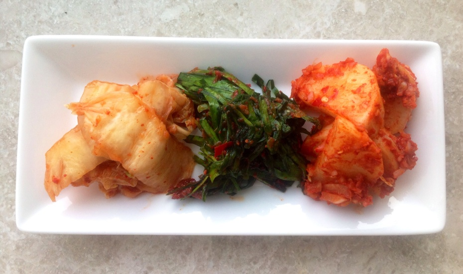Changmonim's home made kimchi: cabbage (bechu), Asian chives (buchu), and radish (moo).