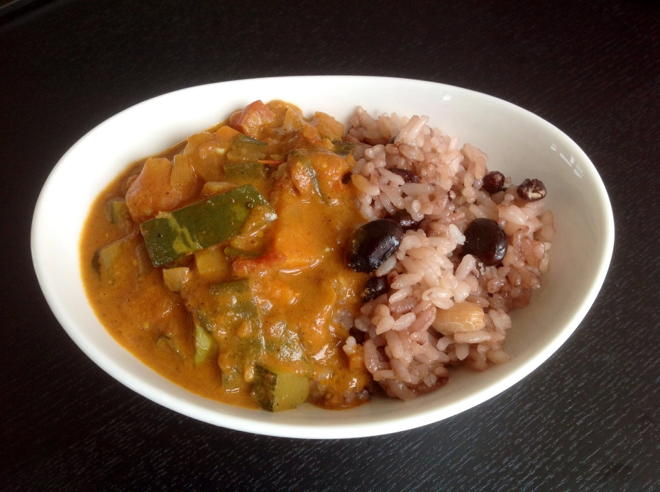 Heather and David always make the Indian flatbread naan, but I serve this curry with rice and beans or with satsumaimo, both of which are scrumptious.